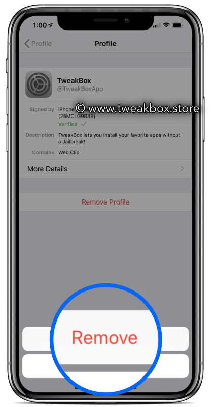 delete tweakbox profile